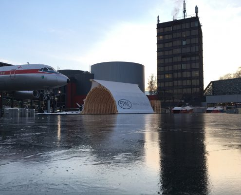 Palettenhafen mit Eis